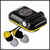 UWaterG4 Swim MP3 (Black/Yellow) & Earphones & Buds 100% Waterproof