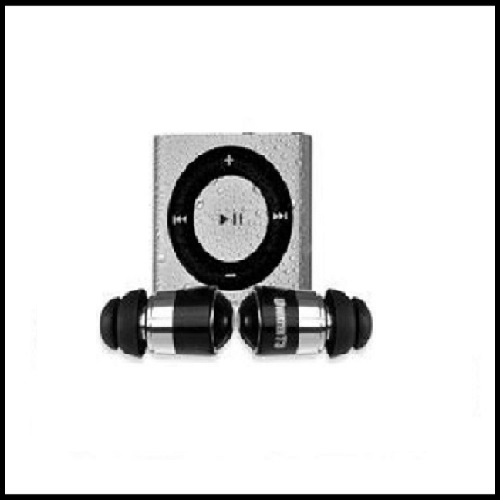 Waterproof Ipod Shuffle (Silver) with Uwater12 Short Action Earphones & Buds.